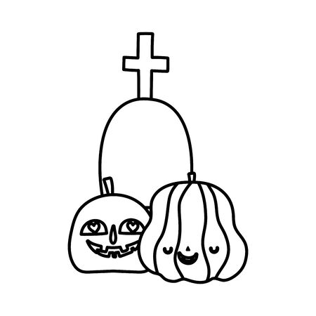 happy halloween celebration pumpkins gravestone with cross line style