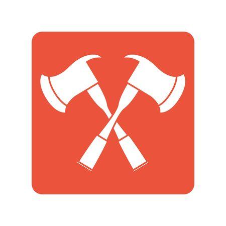 fire axes crossed block line style icon Illusztráció