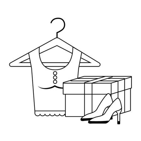 Gift heels and shirt design vector illustration Ilustrace
