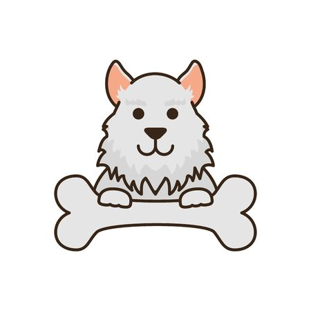 cute little dog with bone fill style icon