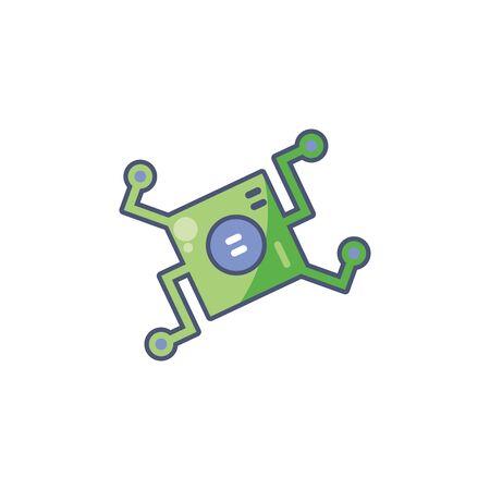Digital motherboard icon fill design