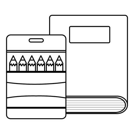 text book school and colors pencils box supplies