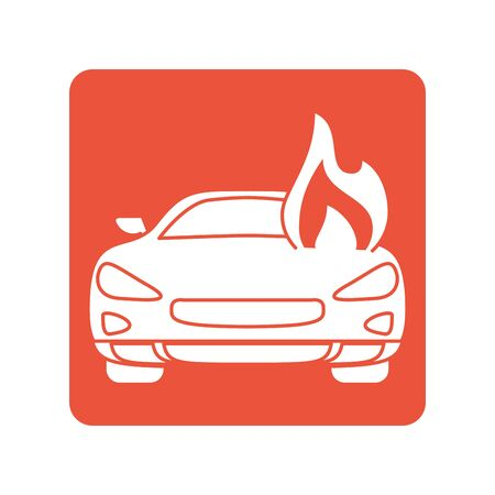 car burning with fire flames block line style icon