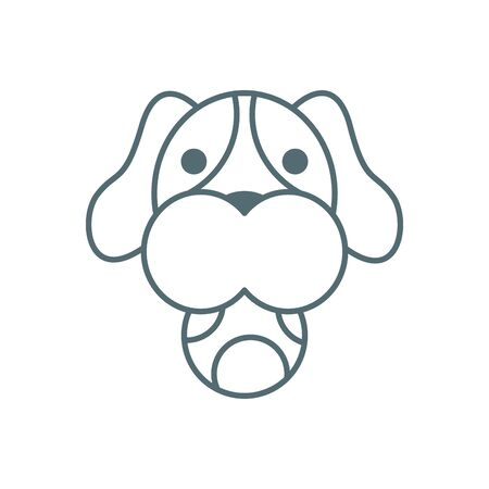 cute little dachshund head with ball dog line style icon