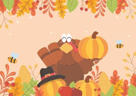 happy thanksgiving turkey holding pumpkin bees and foliage celebration