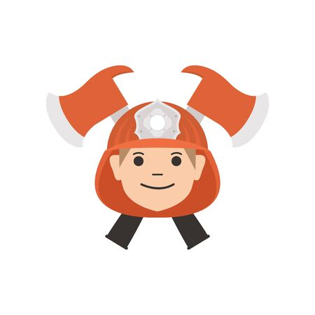 firefighter head with helmet and axes flat style icon
