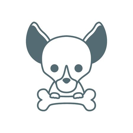 cute little dog chihuahua with bone line style icon
