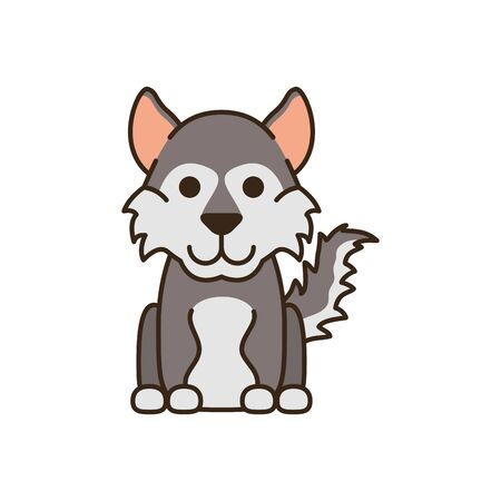 cute little dog husky fill style icon