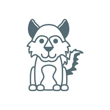 cute little dog line style icon