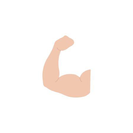 Flaches Design des isolierten männlichen Muskels des Fitnessstudios