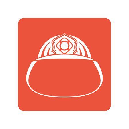 firefighter helmet block line style icon