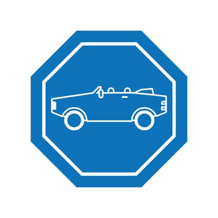 convertible car inside road sign icon block line design