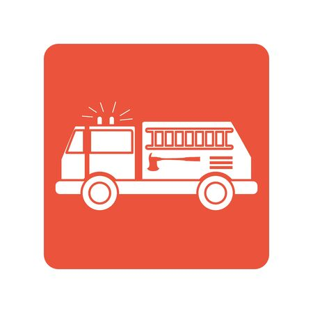 fire truck block line style icon