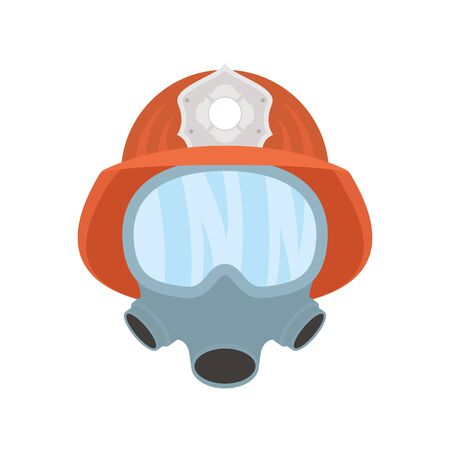 firefighter helmet with mask flat style icon