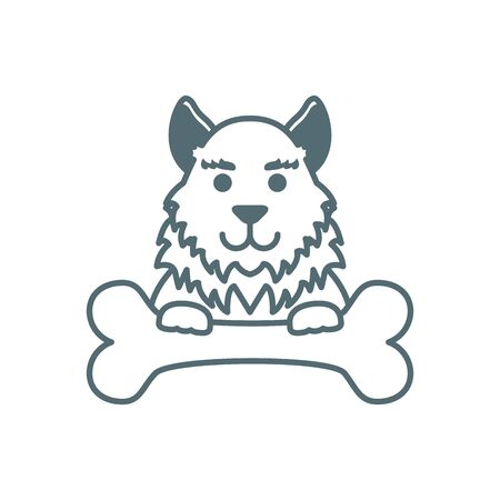 cute little dog collie with bone line style icon