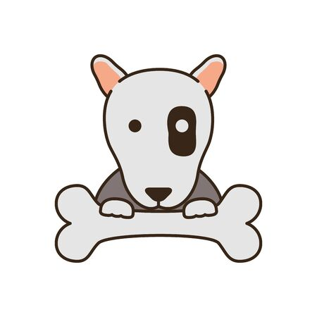 cute little dog pit bull with bone fill style icon