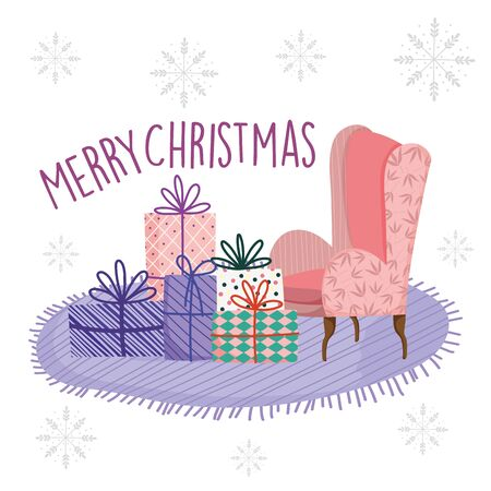 merry christmas celebration living room sofa carpet with gifts