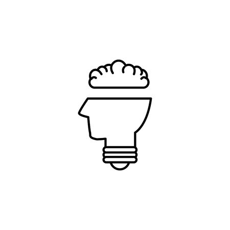 bulb head brain creativity idea icon line style