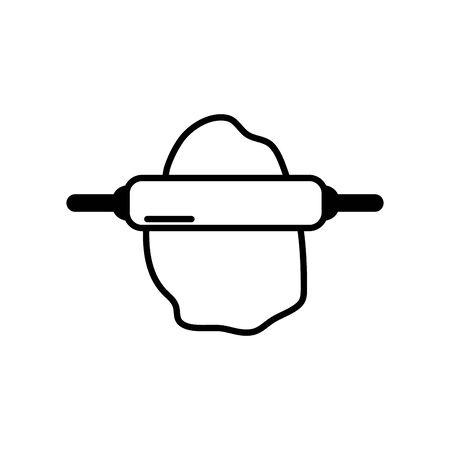 Isolated kitchen rolling pin line design Illusztráció