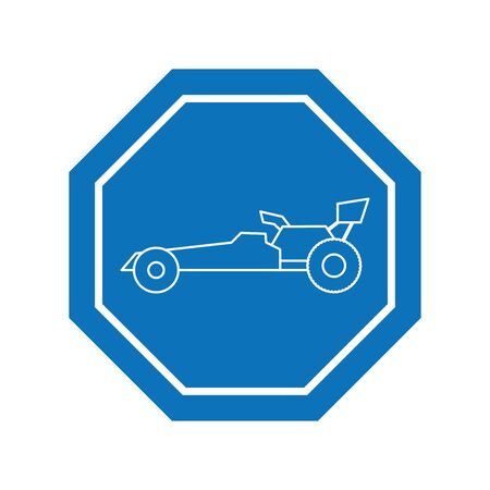 race car inside road sign icon block line design