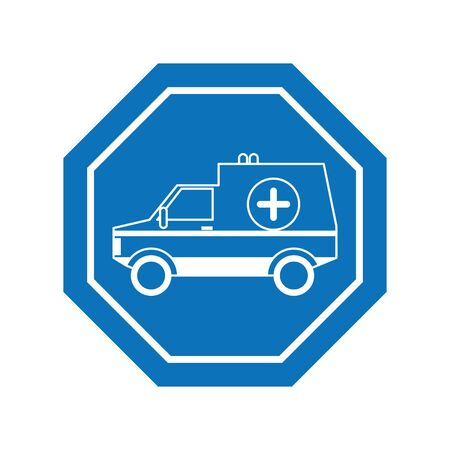 ambulance car inside road sign icon block line design