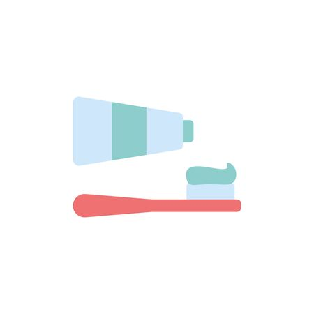 Isolated toothpaste and brush icon flat design