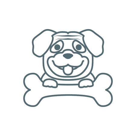 cute little pug dog line with bone style icon