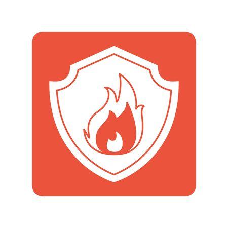 shield with fire flame block line style icon Illusztráció