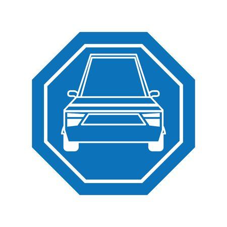 Car inside road sign icon block line design