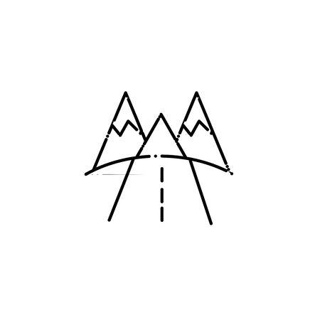 Isolated landscape icon line design Çizim