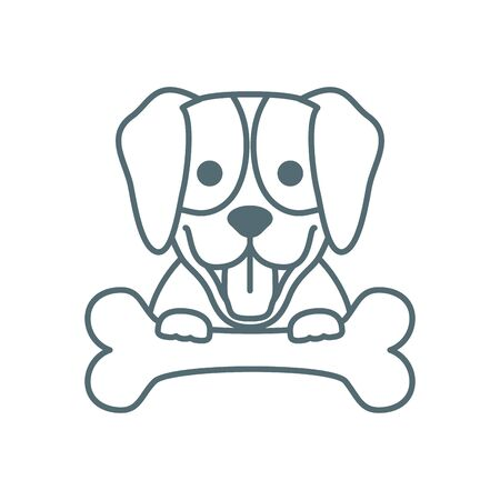 cute little labrador dog with bone line style icon