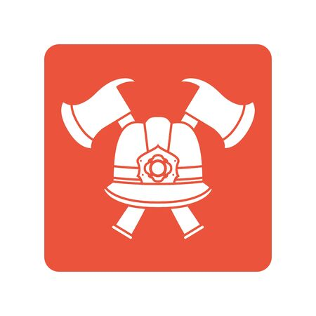 firefighter helmet with axes block line style icon