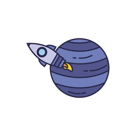 universe rocket launcher with planet fill style Ilustrace