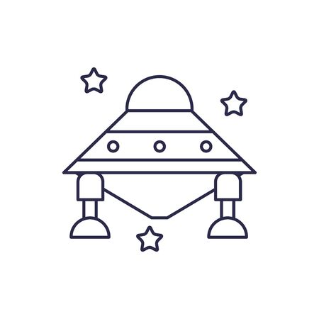 spaceship universe line style icon