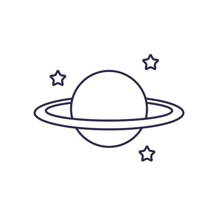 universe saturn planet line style icon