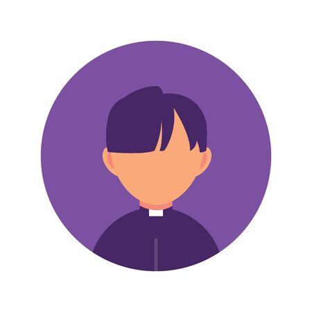 man priest religion , person flat design icon