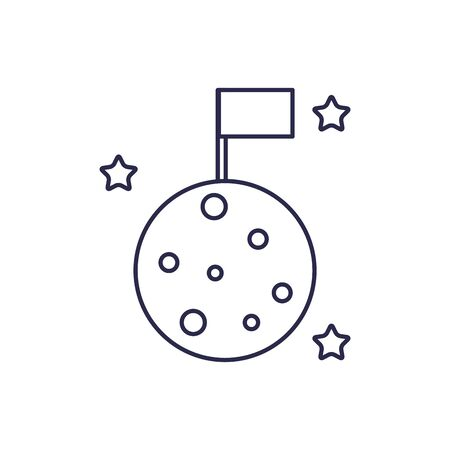 universe moon with flag line style icon Ilustrace