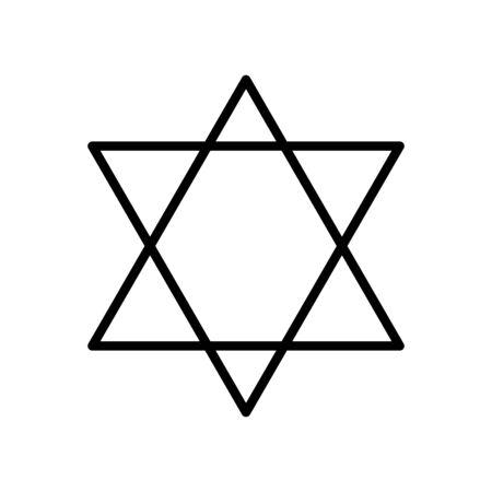 icona di stile della linea a sei punte a stella Vettoriali