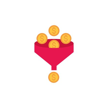 funnel coins money flat image style Ilustrace