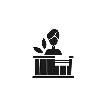 woman in tub spa silhouette style icon Vector Illustration