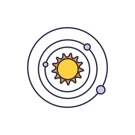 universe sun with orbits fill style icon