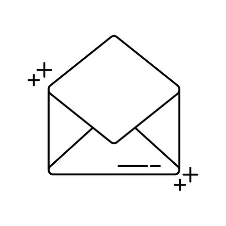 open envelope mail office line icon style