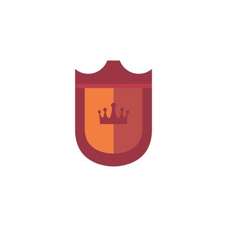 shield crown royal antique medieval flat design vector illustration
