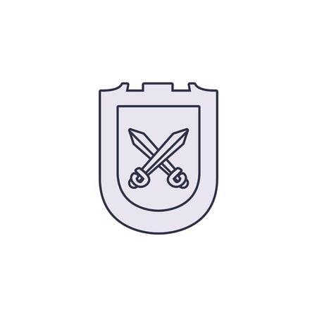 shield crossed swords antique medieval line vector illustration