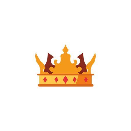 crown royalty cross ornate medieval flat design vector illustration