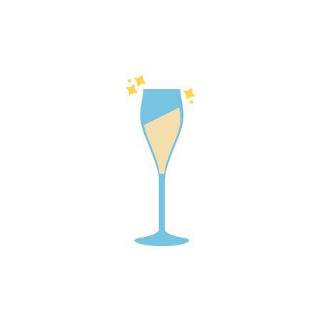 champagne glass celebration party line fill design  イラスト・ベクター素材