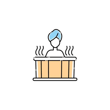 woman in tub spa fill style icon  イラスト・ベクター素材