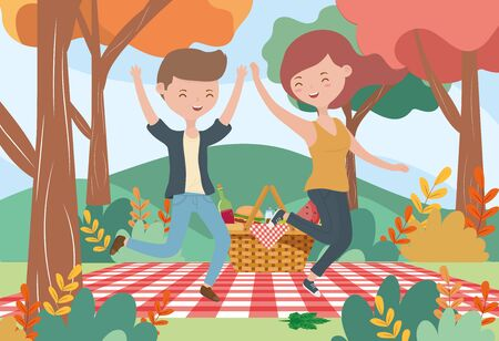 smiling woman and man picnic nature landscape