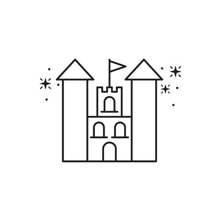 castle with flag fantasy line design
