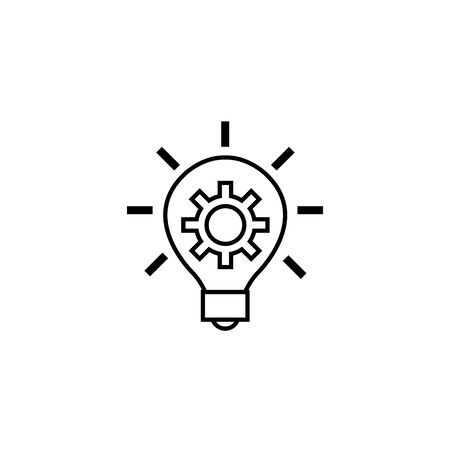gear in bulb solution idea icon line style Ilustracja